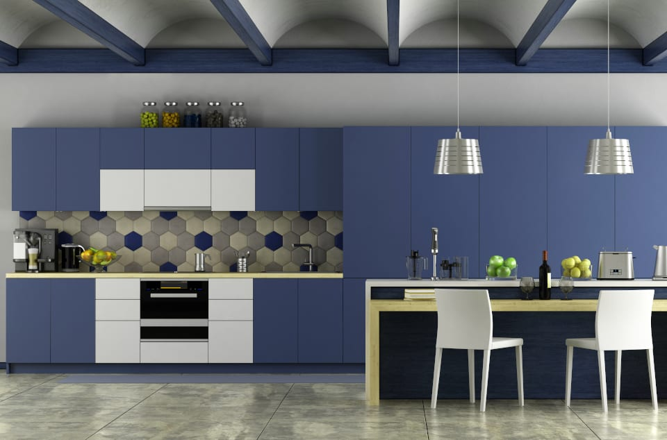 Blue Painted Cabinets Plano TX